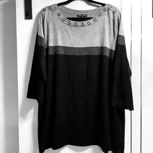 Plussize 3X grommet Grey/Black Stripe Sweater